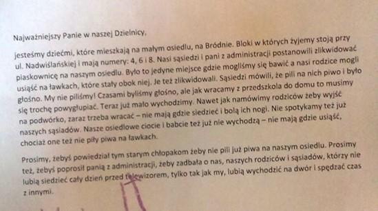 Fragment listu. Źródło: Facebook.com/ruchsasiedzki.targowek