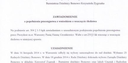 Hanna Gronkiewicz-Waltz popełniła przestępstwo? Złożono zawiadomienie do prokuratury