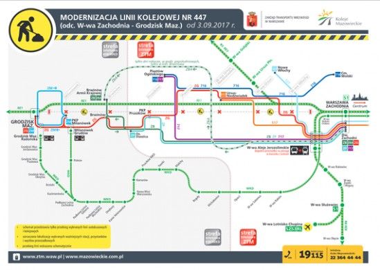 Mapa linii zastępczych. Fot. ZTM