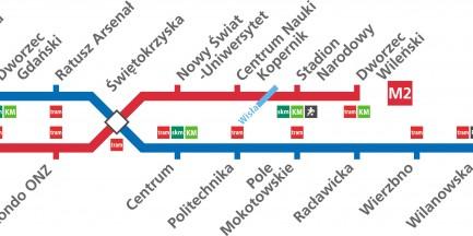 M2 razem z M1. Plus mapa kolejki szynowej