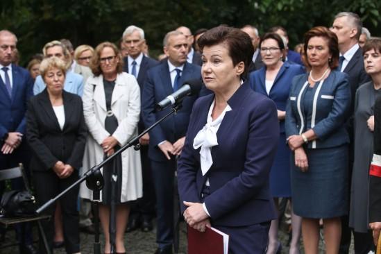 Prezydent Warszawy Hanna Gronkiewicz-Waltz przemawia podczas uroczystości. Fot. Rafał Guz/PAP